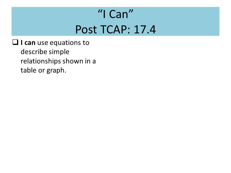 I Can Post TCAP: 17.4  I can use equations to describe simple relationships shown in a table or graph.