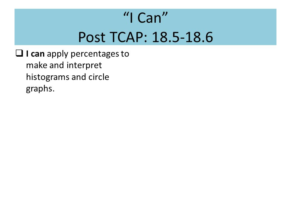 I Can Post TCAP: 18.5-18.6  I can apply percentages to make and interpret histograms and circle graphs.