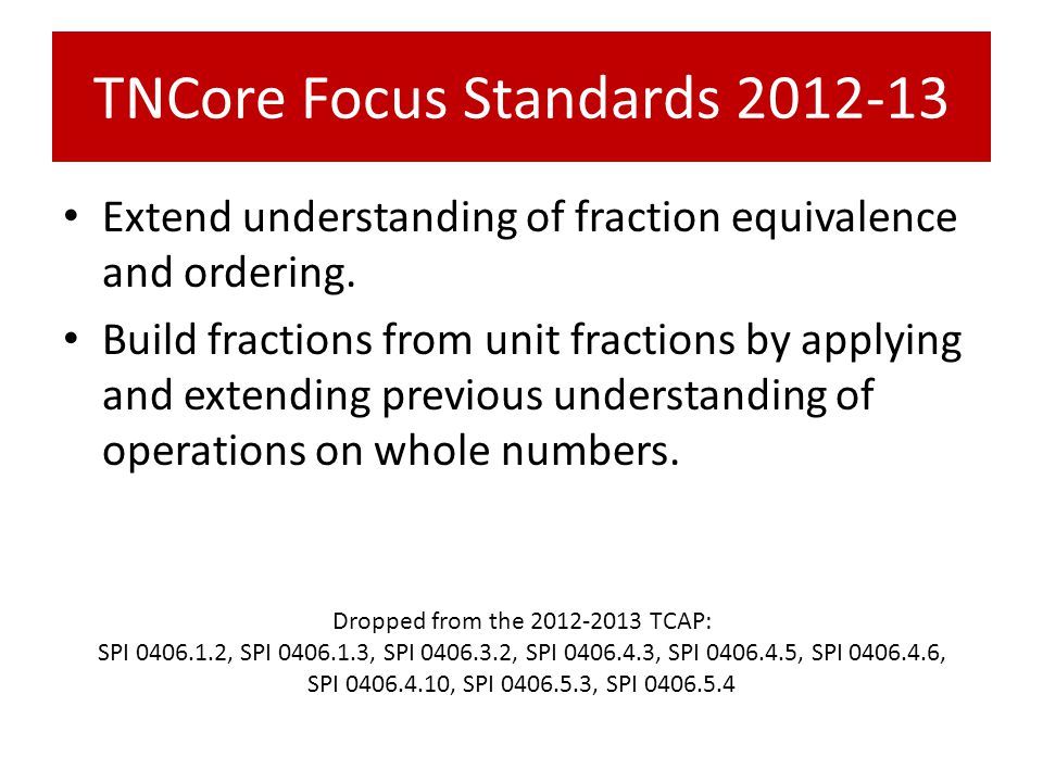 TNCore Focus Standards 2012-13 Extend understanding of fraction equivalence and ordering. Build fractions from unit fractions by applying and extendin