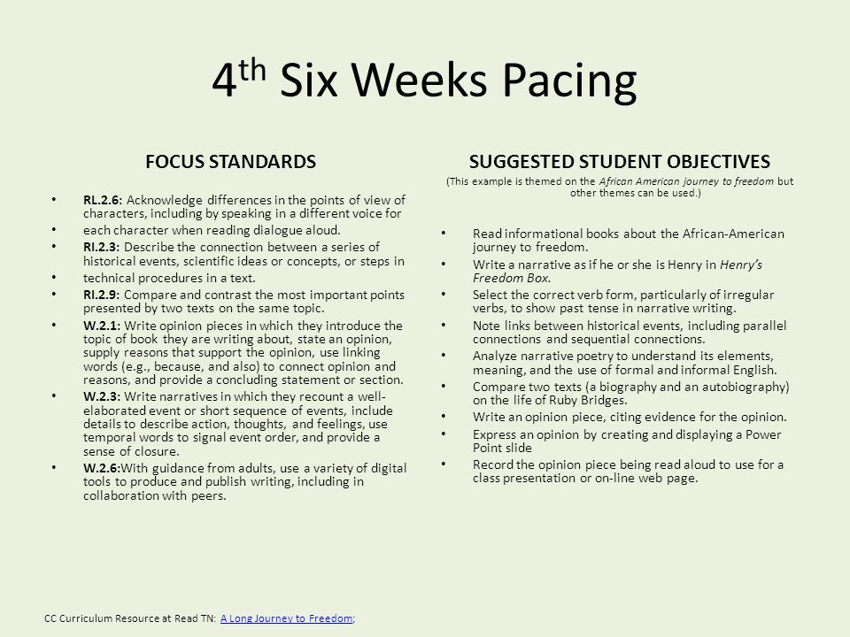 4 th Six Weeks Pacing FOCUS STANDARDS RL.2.6: Acknowledge differences in the points of view of characters, including by speaking in a different voice for each character when reading dialogue aloud.