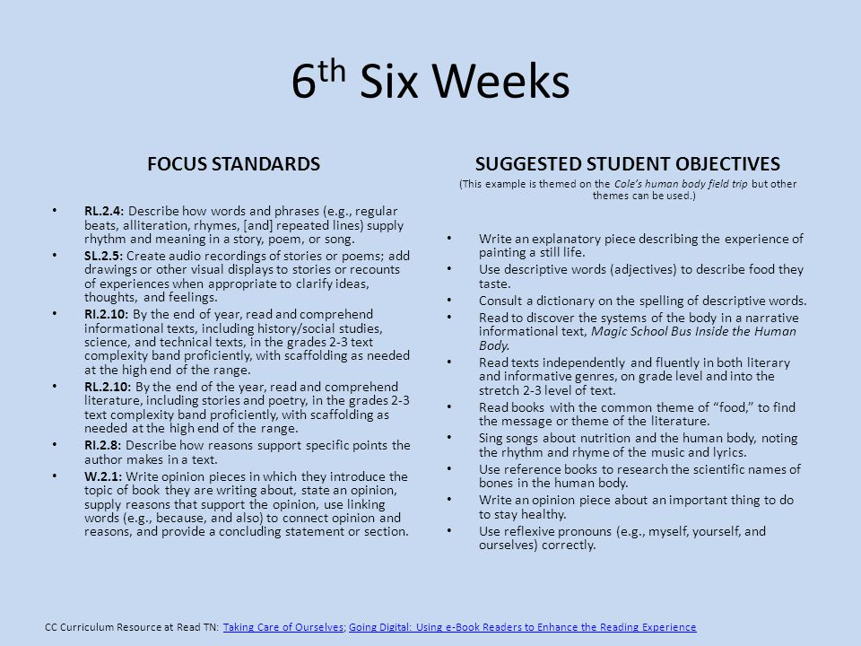 6 th Six Weeks FOCUS STANDARDS RL.2.4: Describe how words and phrases (e.g., regular beats, alliteration, rhymes, [and] repeated lines) supply rhythm and meaning in a story, poem, or song.