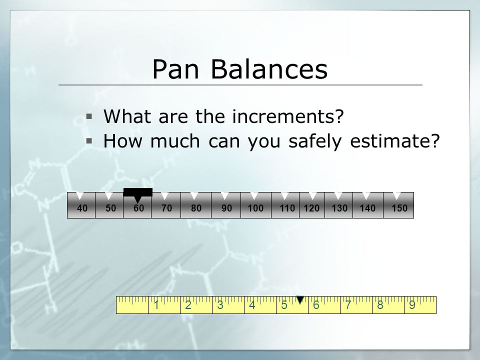 123456789 Pan Balances  What are the increments?  How much can you safely estimate? 40 506070 8090100 110 120130140150