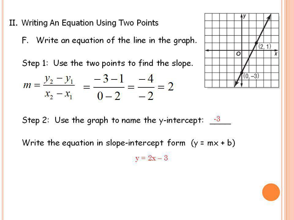 -3 y = 2x – 3