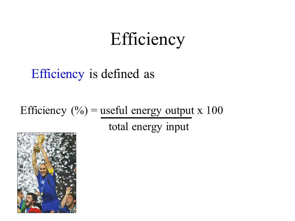 Example Efficiency = 75 x 100 = 15% 500