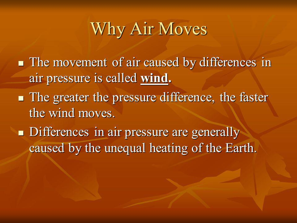 Why Air Moves The movement of air caused by differences in air pressure is called wind. The movement of air caused by differences in air pressure is c
