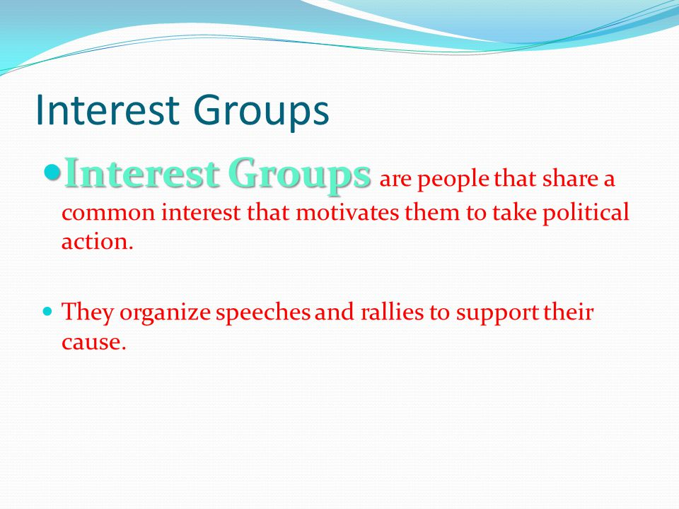 Interest Groups Interest Groups Interest Groups are people that share a common interest that motivates them to take political action. They organize sp