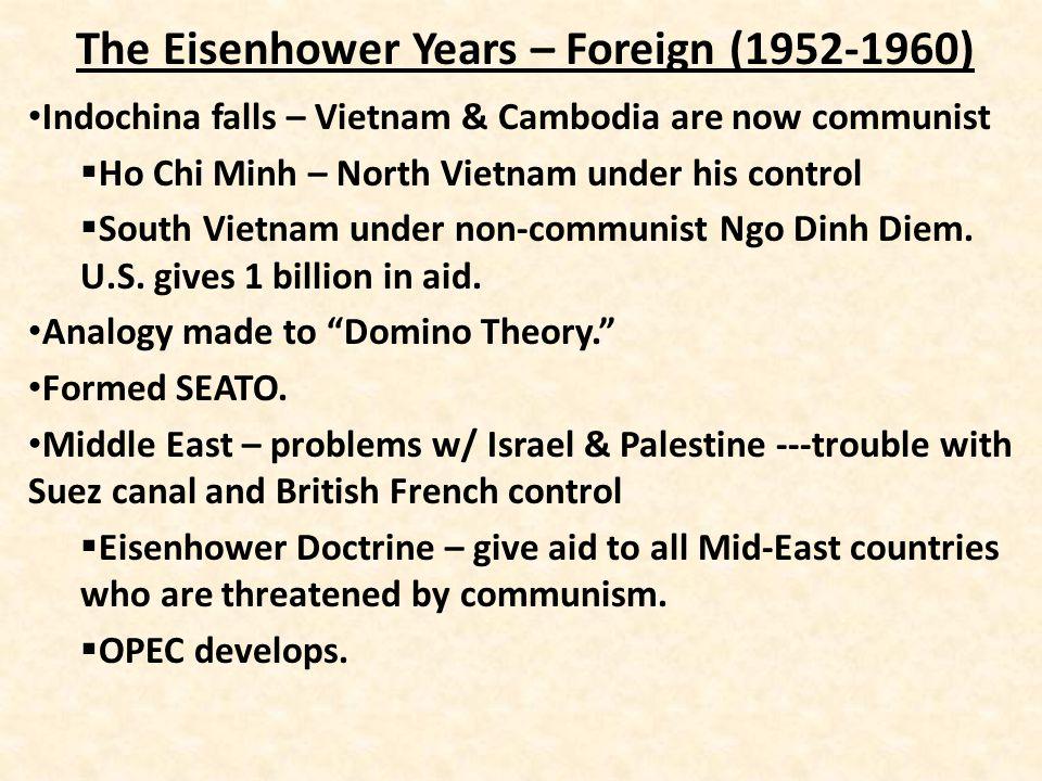 The Eisenhower Years – Foreign (1952-1960) Geneva Convention – peaceful relation – Bulganin & Khruschev.