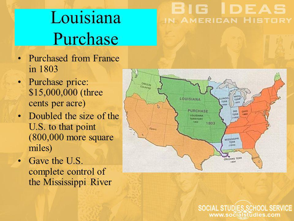 Louisiana Purchase Purchased from France in 1803 Purchase price: $15,000,000 (three cents per acre) Doubled the size of the U.S. to that point (800,00