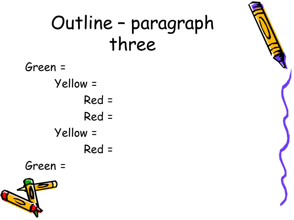 Outline – paragraph three Green = Yellow = Red = Yellow = Red = Green =