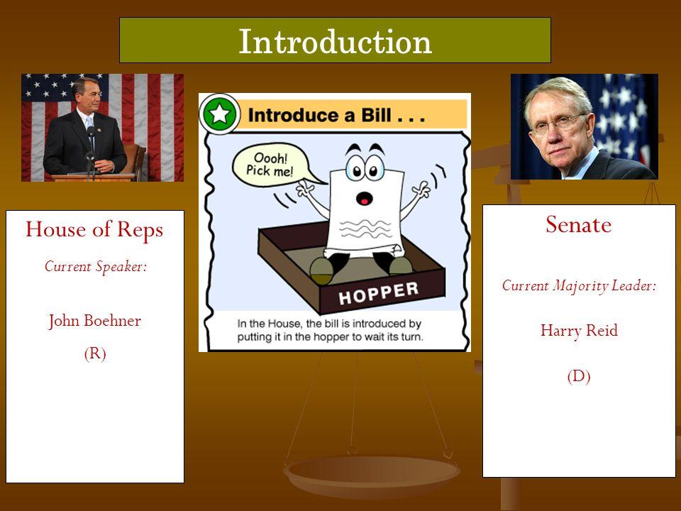 House of Reps Current Speaker: John Boehner (R) Introduction Senate Current Majority Leader: Harry Reid (D)
