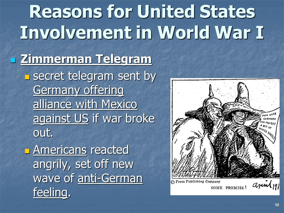 Reasons for United States Involvement in World War I Zimmerman Telegram Zimmerman Telegram secret telegram sent by Germany offering alliance with Mexico against US if war broke out.