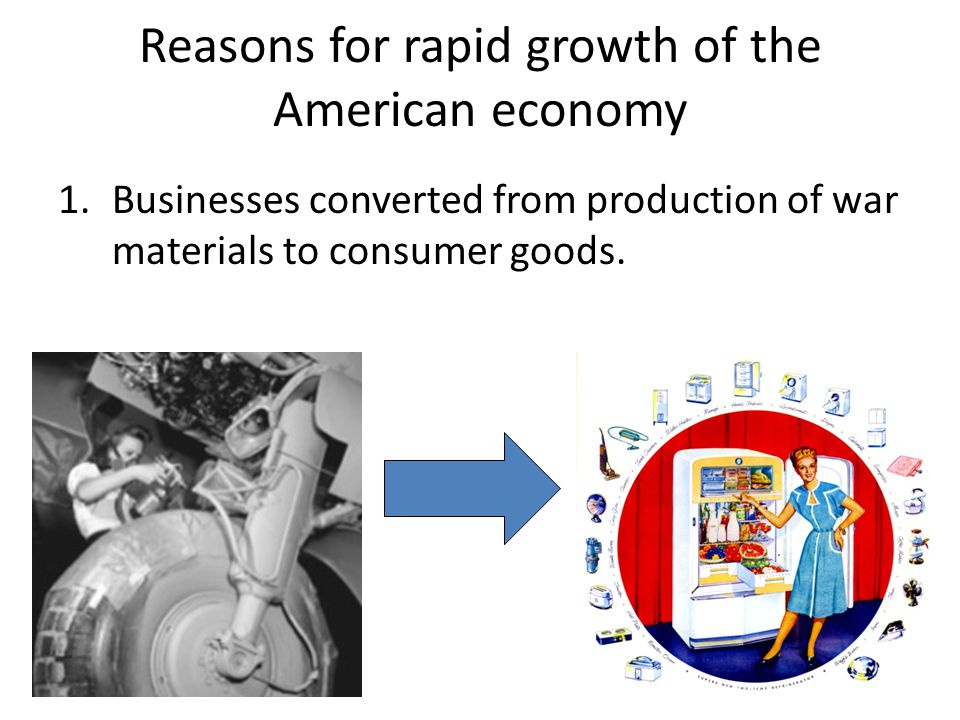 Reasons for rapid growth of the American economy 1.Businesses converted from production of war materials to consumer goods.