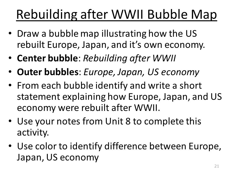 Rebuilding after WWII Bubble Map Draw a bubble map illustrating how the US rebuilt Europe, Japan, and it's own economy.