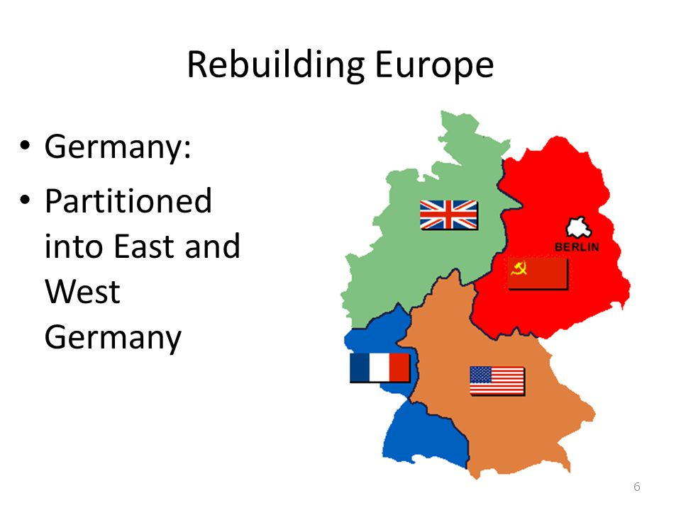 Rebuilding Europe Germany: Partitioned into East and West Germany 6