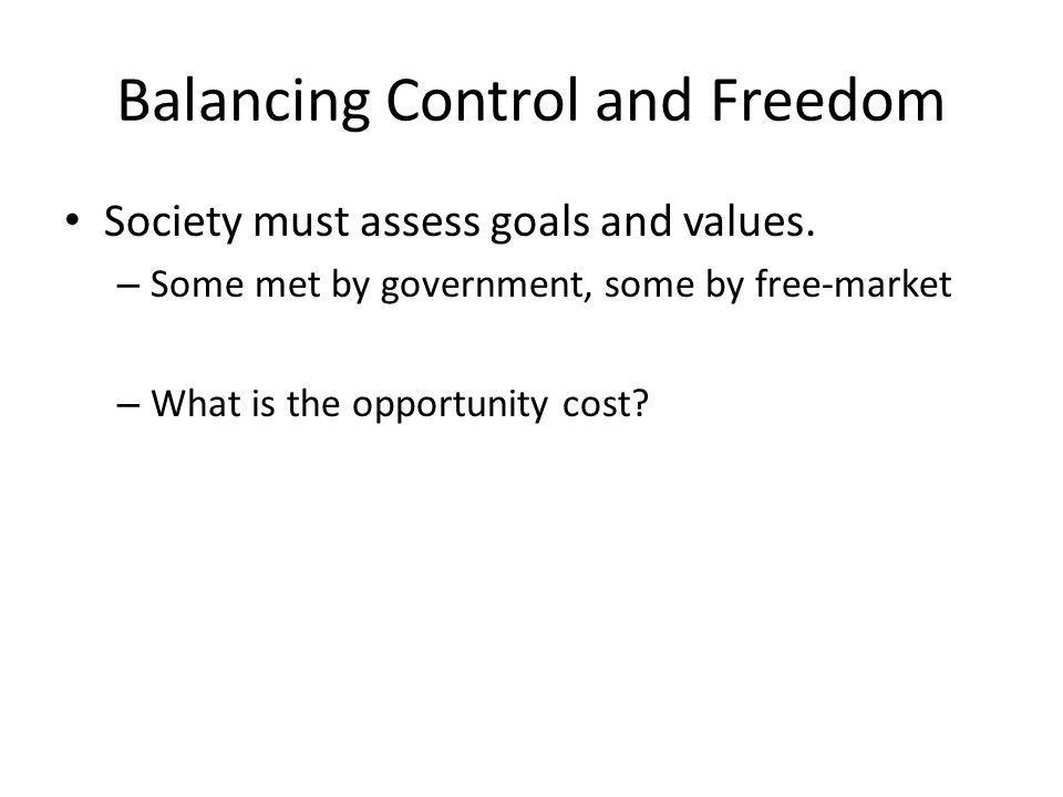 Balancing Control and Freedom Society must assess goals and values.
