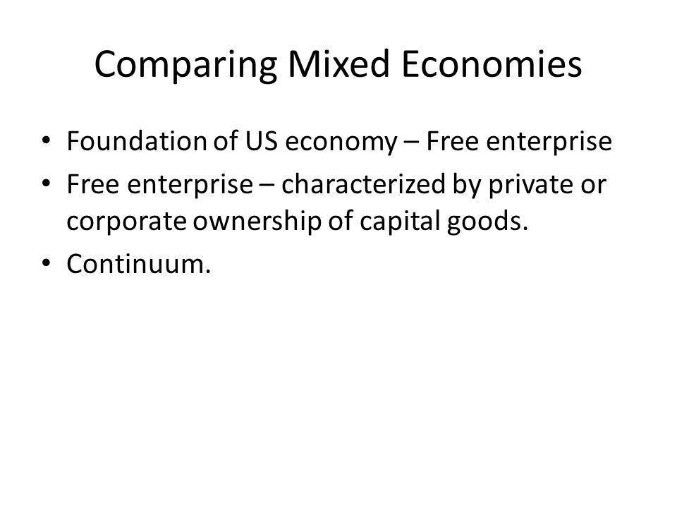 Comparing Mixed Economies Centrally PlannedFree Market North Korea Cuba Russia China Poland France UK US Hong Kong Singapore