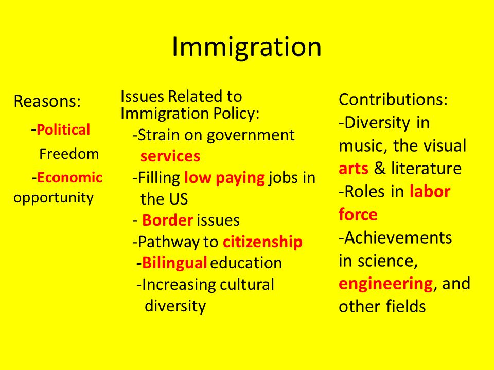 Immigration Reasons: - Political Freedom -Economic opportunity Issues Related to Immigration Policy: -Strain on government services -Filling low paying jobs in the US - Border issues -Pathway to citizenship -Bilingual education -Increasing cultural diversity Contributions: -Diversity in music, the visual arts & literature -Roles in labor force -Achievements in science, engineering, and other fields
