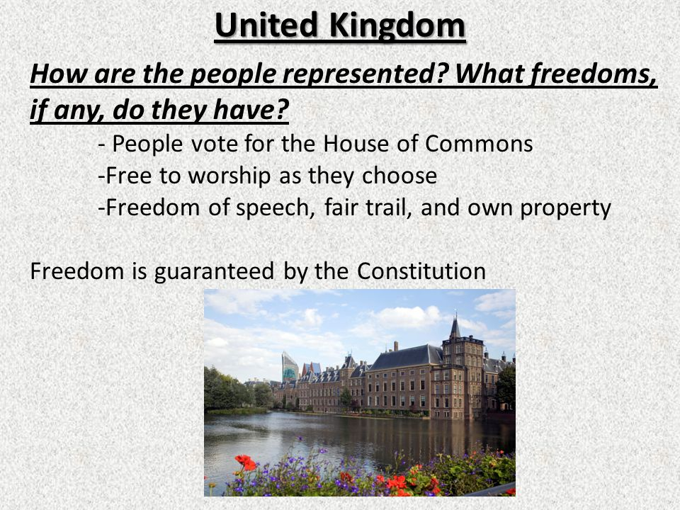 United Kingdom How are the people represented.What freedoms, if any, do they have.