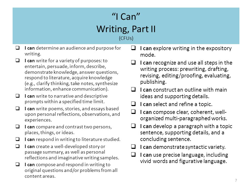 I Can Writing, Part II (CFUs) 7  I can determine an audience and purpose for writing.