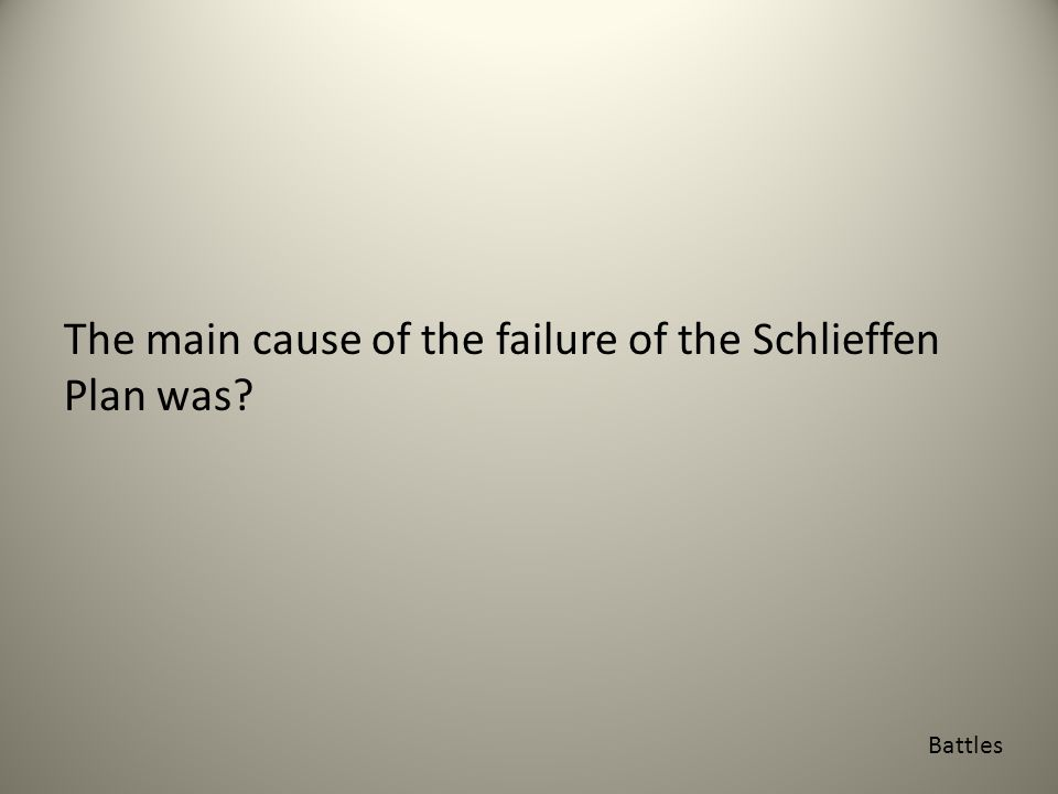 The main cause of the failure of the Schlieffen Plan was Battles