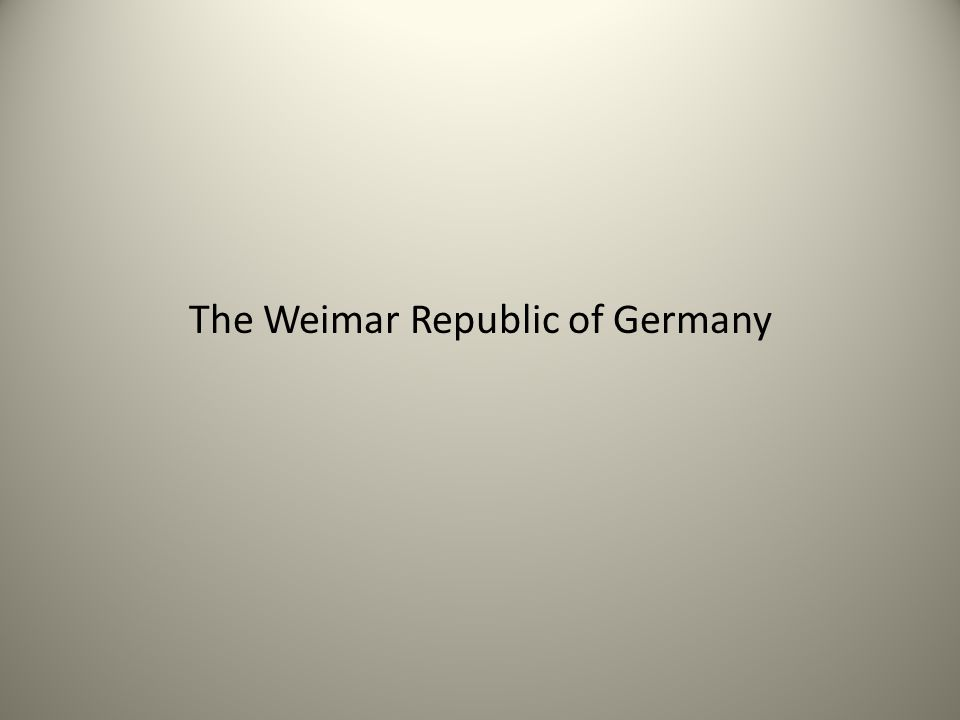 The Weimar Republic of Germany