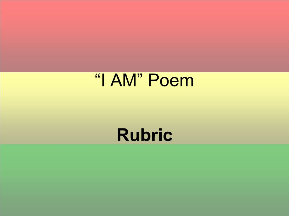 I AM Poem Rubric