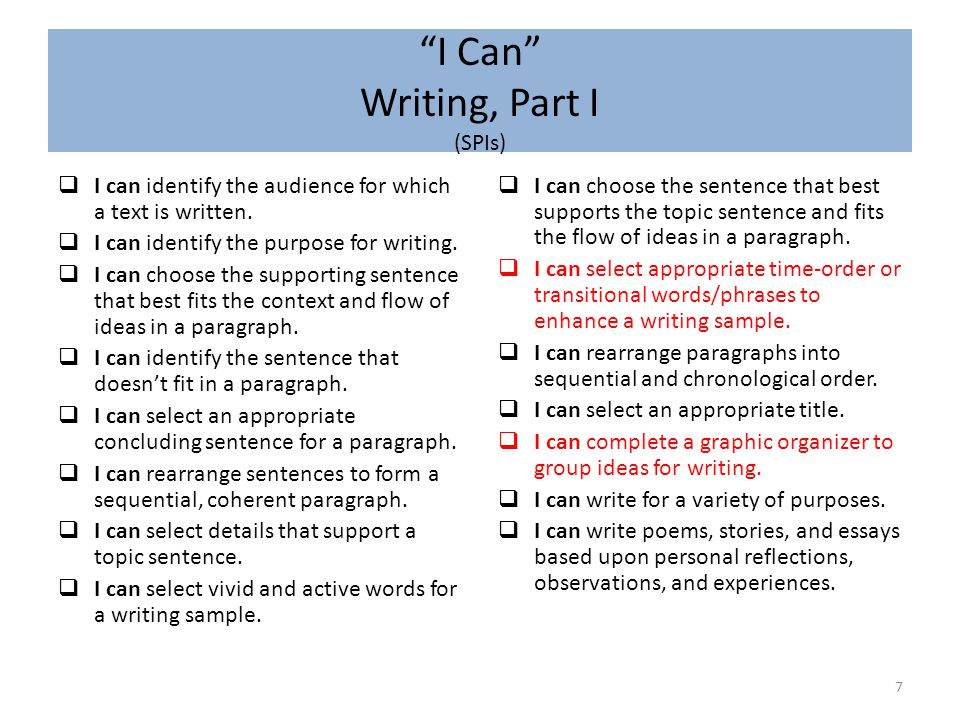 I Can Writing, Part II (CFUs) 8  I can determine an audience and purpose for writing.