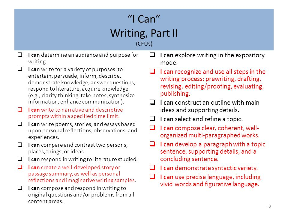 I Can Writing, Part III (CFUs, cont'd) 9  I can use correct page format (e.g., paragraphs, margins, indentations, title).