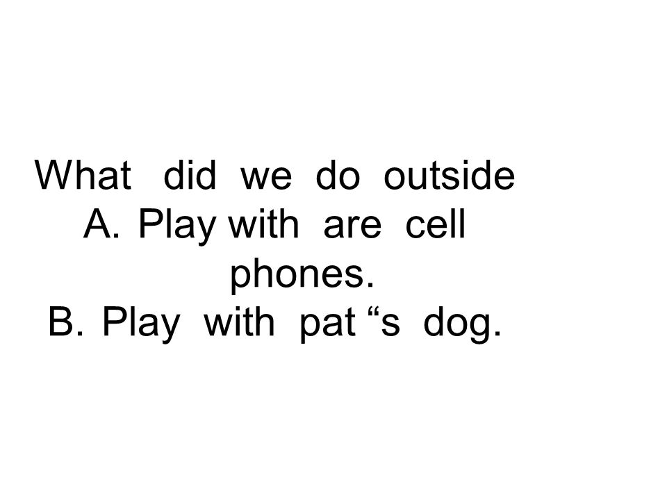 What did we do outside A.Play with are cell phones. B.Play with pat s dog.
