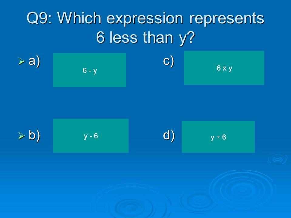 Q8: Solve for b. b + 17 = 35  a)c)  b)d) 52 18 22 2