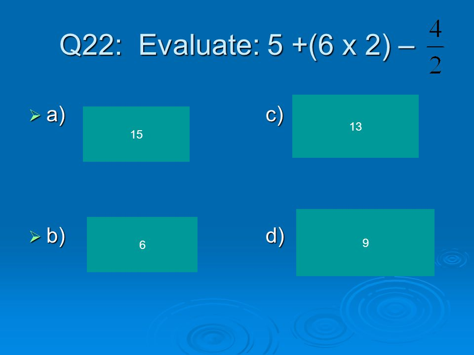 Q21:Which equation represents: 4 more than twice n is 10.