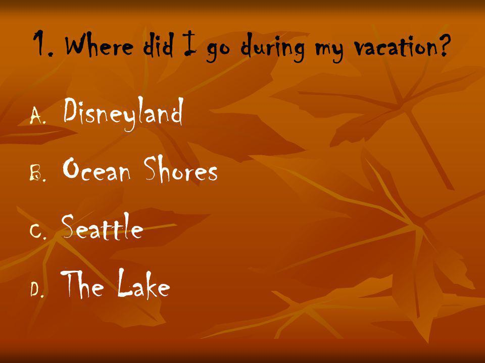1. Where did I go during my vacation. A. A. Disneyland B.