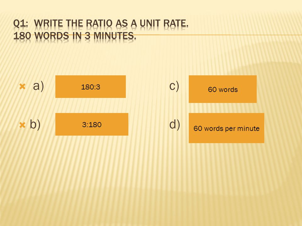 Ratio Unit – Part I