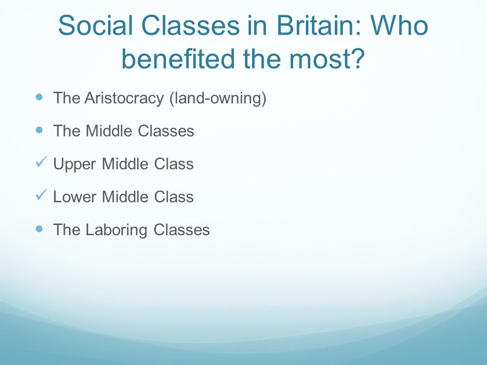 Social Classes in Britain: Who benefited the most.