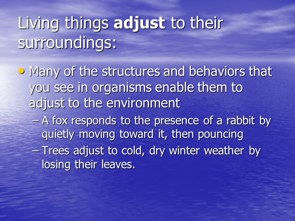 Living things adjust to their surroundings: Many of the structures and behaviors that you see in organisms enable them to adjust to the environment Ma