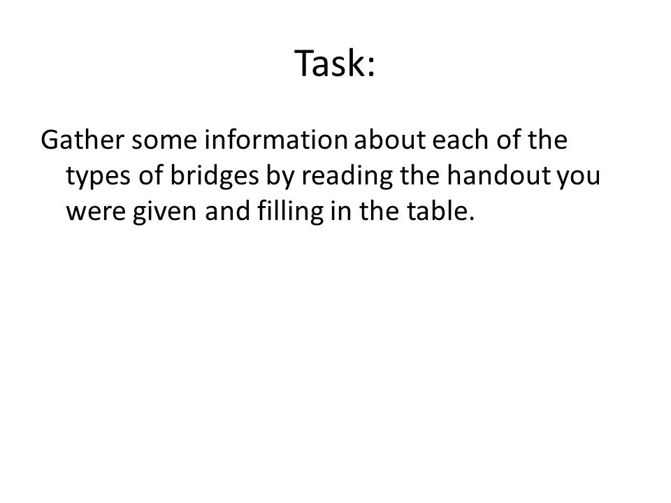 Task: Gather some information about each of the types of bridges by reading the handout you were given and filling in the table.