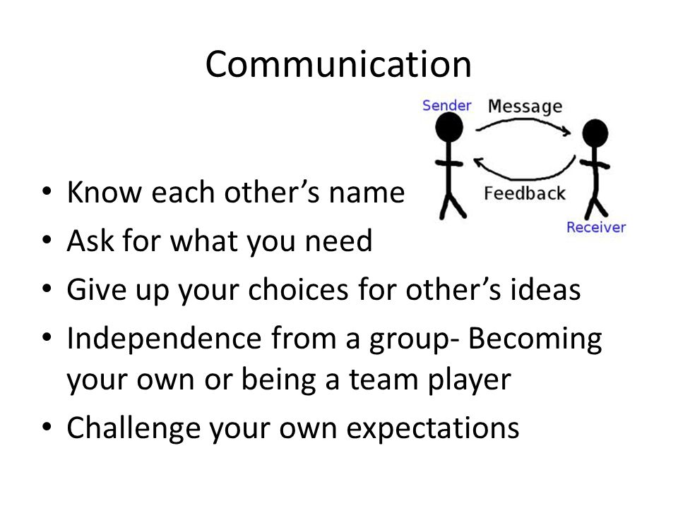 Communication Know each other's names Ask for what you need Give up your choices for other's ideas Independence from a group- Becoming your own or being a team player Challenge your own expectations