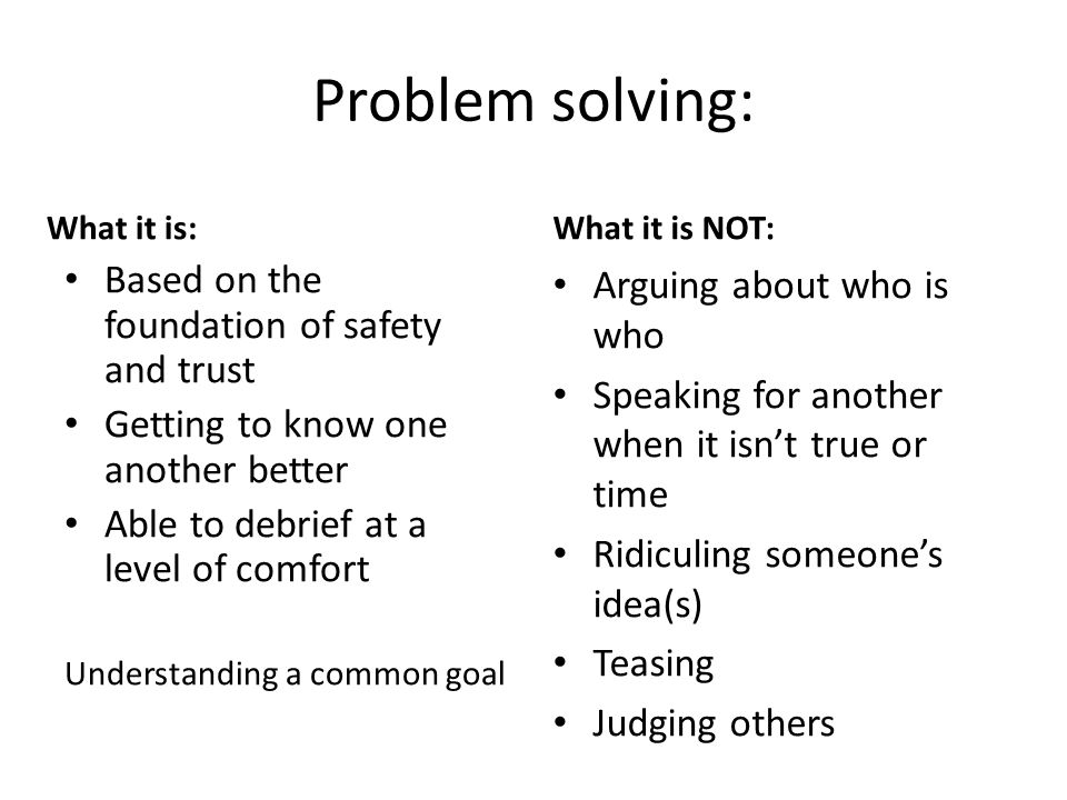 Problem solving: What it is: Based on the foundation of safety and trust Getting to know one another better Able to debrief at a level of comfort Understanding a common goal What it is NOT: Arguing about who is who Speaking for another when it isn't true or time Ridiculing someone's idea(s) Teasing Judging others