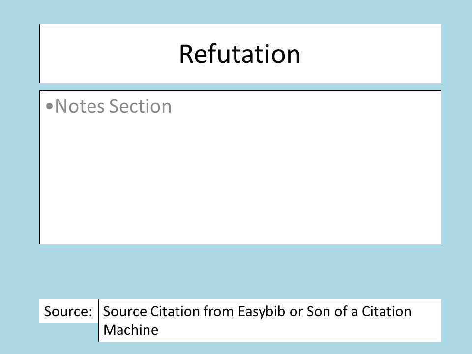 Refutation Notes Section Source: Source Citation from Easybib or Son of a Citation Machine