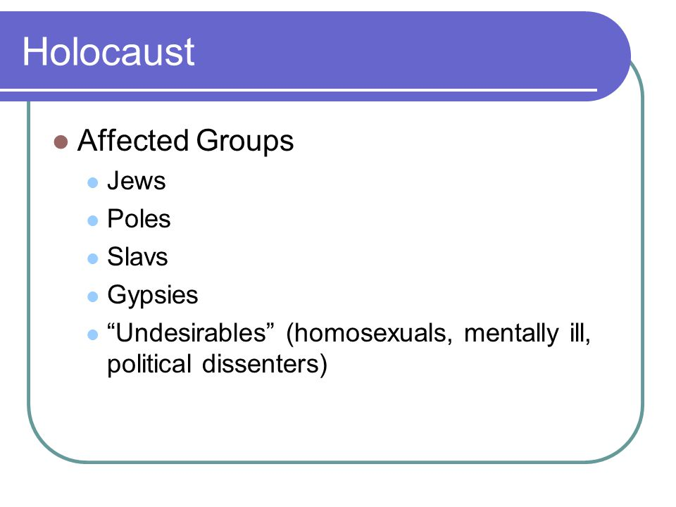 """Holocaust Affected Groups Jews Poles Slavs Gypsies """"Undesirables"""" (homosexuals, mentally ill, political dissenters)"""