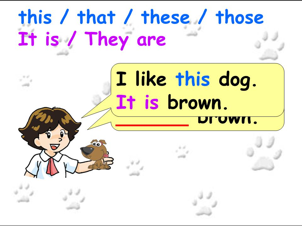 I like ___ dog._____ brown. this / that / these / those It is / They are I like that dog.