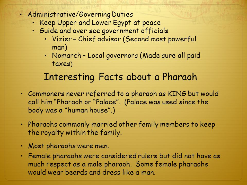 Interesting Facts about a Pharaoh Female pharaohs were considered rulers but did not have as much respect as a male pharaoh.