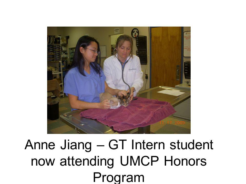 Anne Jiang – GT Intern student now attending UMCP Honors Program