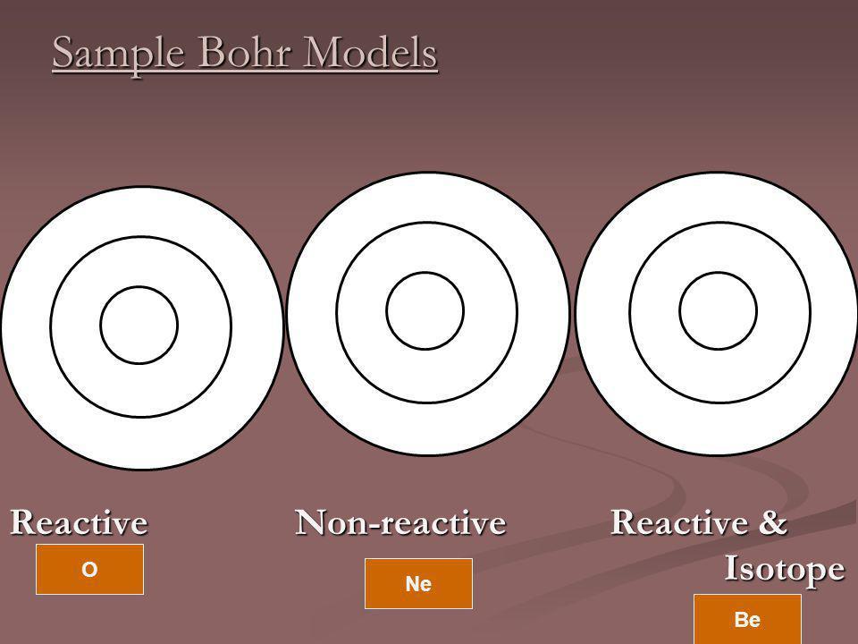 Sample Bohr Models Reactive Non-reactive Reactive & Isotope O Ne Be