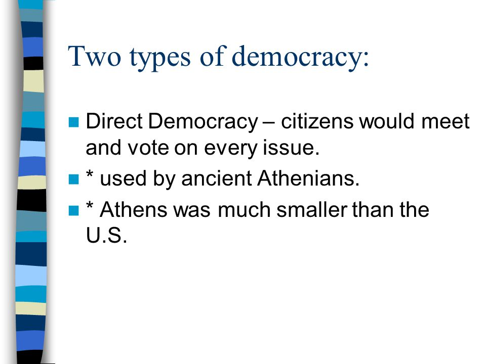 Democracy – citizens hold the power to rule and to make laws.