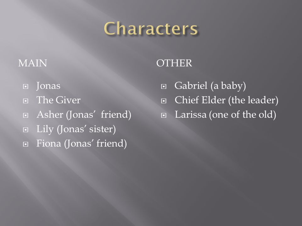 MAINOTHER  Jonas  The Giver  Asher (Jonas' friend)  Lily (Jonas' sister)  Fiona (Jonas' friend)  Gabriel (a baby)  Chief Elder (the leader)  Larissa (one of the old)