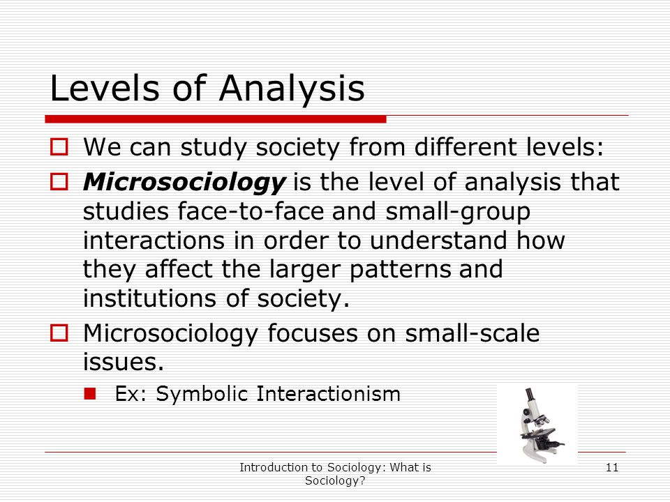 Introduction to Sociology: What is Sociology? 11 Levels of Analysis  We can study society from different levels:  Microsociology is the level of ana