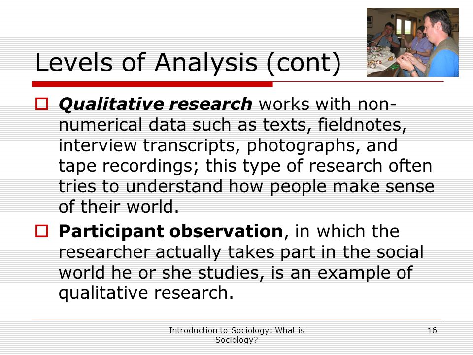Introduction to Sociology: What is Sociology? 16 Levels of Analysis (cont)  Qualitative research works with non- numerical data such as texts, fieldn
