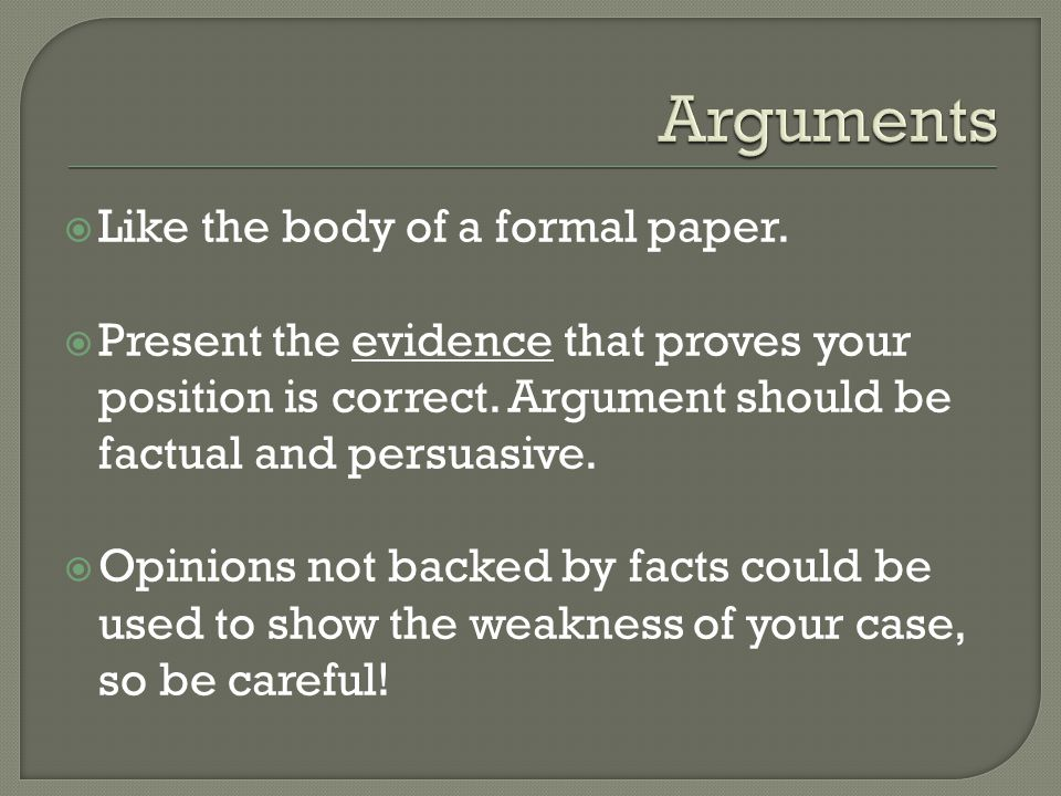  Like the body of a formal paper.  Present the evidence that proves your position is correct.