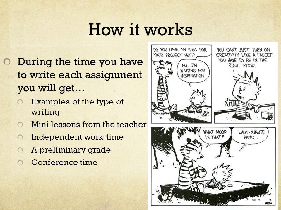 How it works During the time you have to write each assignment you will get… Examples of the type of writing Mini lessons from the teacher Independent
